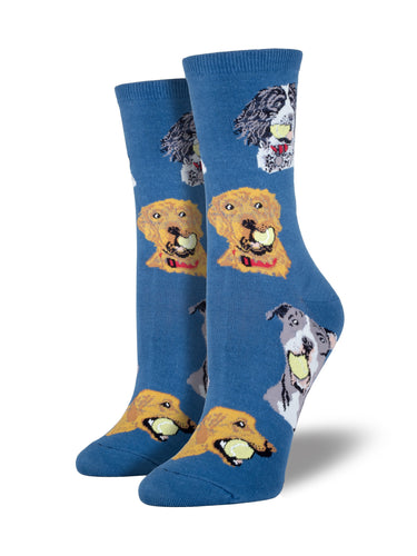Women's Ball Dog Socks - Blue