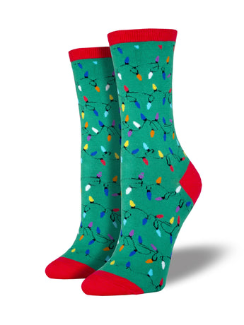 Women's Christmas Lights Socks - Green