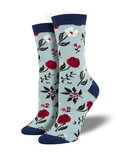 Women's Bamboo Floral Motif Socks - Blue