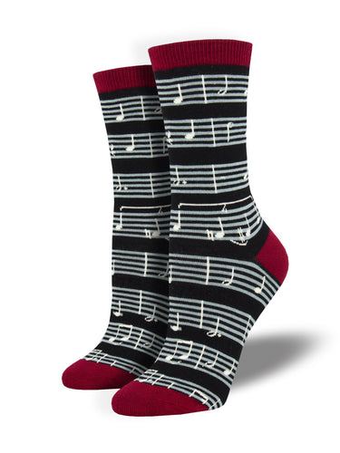 Women's Bamboo Sheet Music Socks - Black