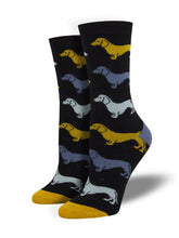 Women's Bamboo Dachshund Socks - Black