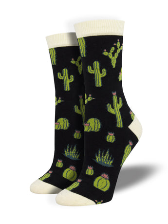 Women's Bamboo King Cactus Socks - Black