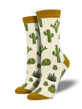 Women's Bamboo King Cactus Socks - Ivory