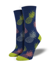 Women's Bamboo Pineapple Print Socks - Blue