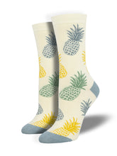Women's Bamboo Pineapple Print Socks - Ivory