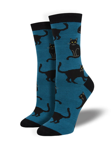 Women's Bamboo Black Cat Socks - Blue