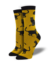 Women's Bamboo Black Cat Socks - Gold