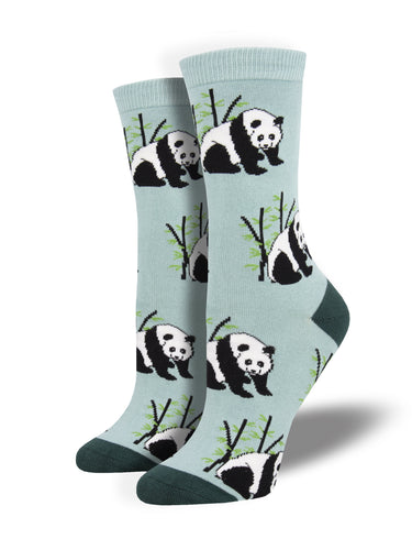 Women's Bamboo Panda Bear Socks - Blue