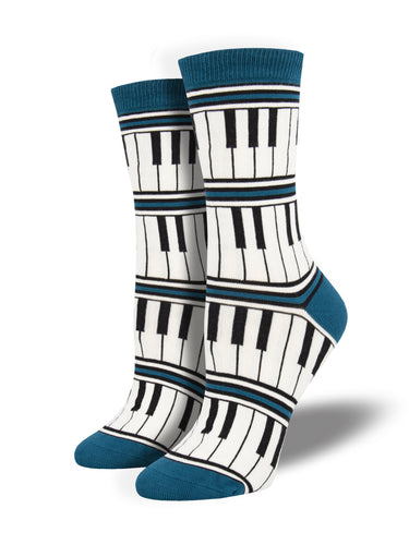 Women's Bamboo Piano Stripe Socks - Blue