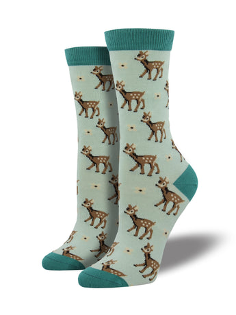 Women's Bamboo Deer Socks - Sky