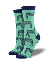 Women's Bamboo Zebra Socks - Mint