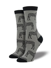 Women's Bamboo Zebra Socks - Grey