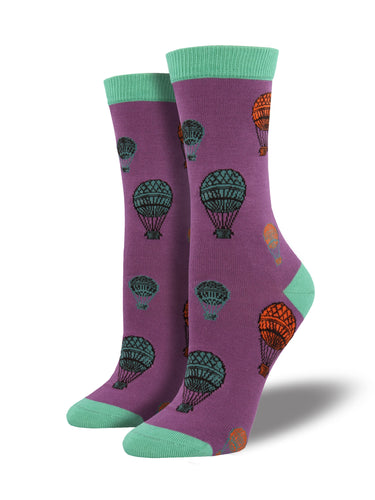 Find Women's Bamboo Hot Air Balloon Socks - Purple