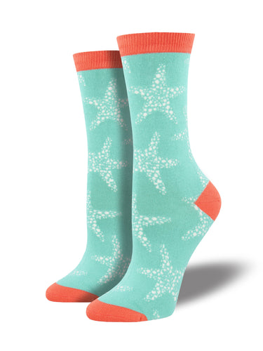 Women's Bamboo Sea Star Socks - Teal