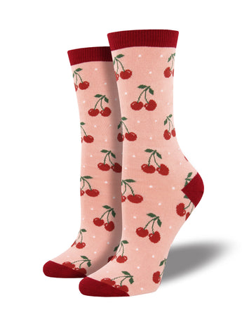 Women's Bamboo Cherry Socks - Pink