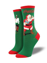 Women's Classic Coke Santa Socks - Green