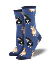 Women's Corgi Butt Socks - Blue