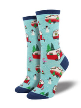 Women's Christmas Campers Socks - Blue Heather