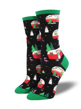Women's Christmas Campers Socks - Black