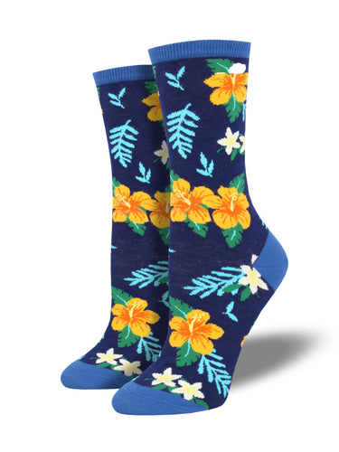 Women's Aloha Floral Socks - Blue