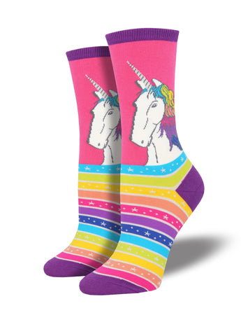 Women's Rainbow Hair Don't Care Socks - Pink