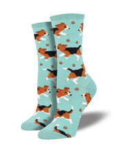 Women's Puppy Prints Socks - Sky