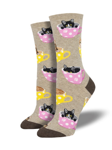 Women's Cat-feinated Socks - Brown