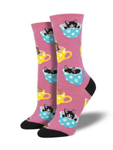 Women's Cat-feinated Socks - Pink