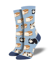 Women's Cat Loaf Socks - Blue