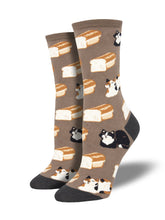 Women's Cat Loaf Socks - Brown
