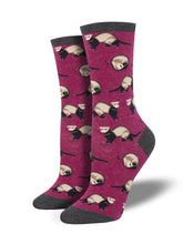 Women's Ferret Frenzy Socks - Berry Heather