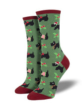 Women's Festive Scotties Socks - Green
