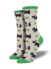 Women's Festive Scotties Socks - Heather Grey