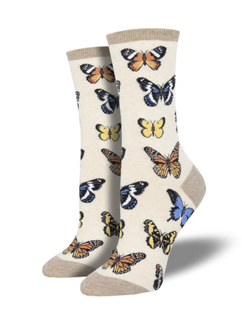 Women's Majestic Butterflies Socks - Heather Ivory