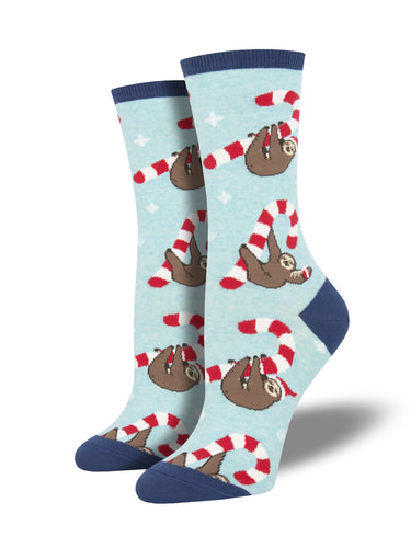 Women's Merry Slothmas Socks - Bue Heather