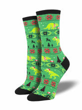 Women's Santasaurus Rex Socks - Green