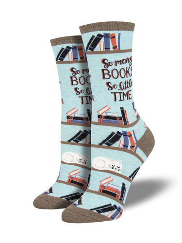 Women's Time For A Good Book Socks - Blue Heather