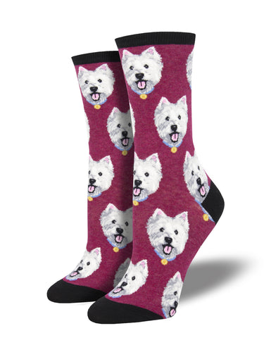 Women's Westies Socks - Berry Heather