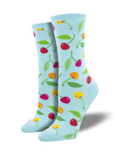 Women's Cherries Socks - Blue
