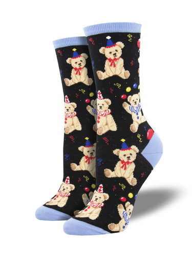 Women's Party Bear Socks - Black