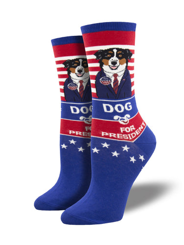 Women's Dog For President Socks - Boue