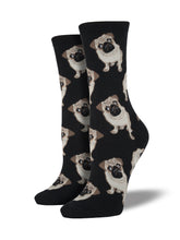 Women's Pugs Socks - Black