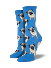 Women's Pugs Socks - Blue