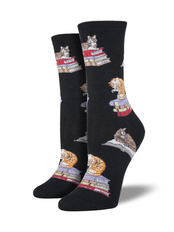 Women's Cats On Books Socks - Black