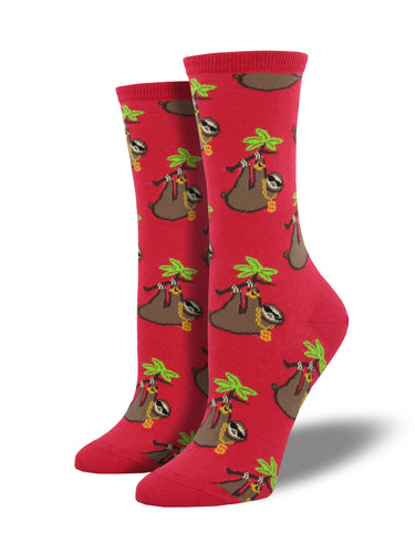 Women's Sloth Bling Socks - Red