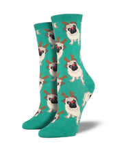 Women's Antler Pug Socks - Green