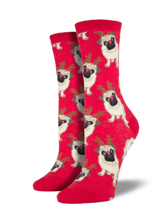 Women's Antler Pug Socks - Red