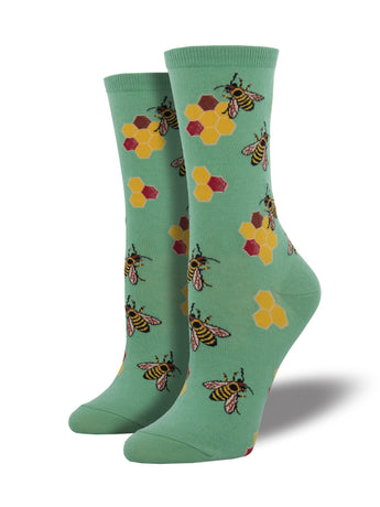 Women's Busy Bees Socks - Mint