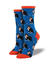 Women's Tuxedo Cats Socks - Blue