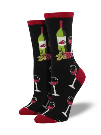 Women's Wine Scene Socks - Black